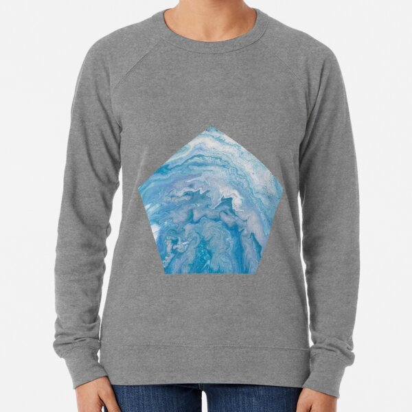 Icy Blue World: Acrylic Pour Painting Lightweight Sweatshirt
