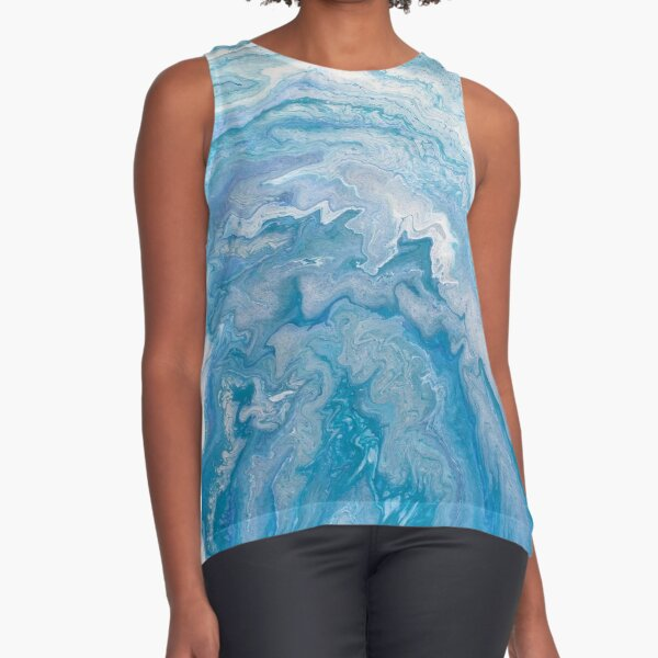 Icy Blue World: Acrylic Pour Painting Sleeveless Top