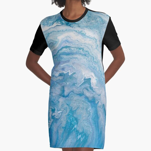 Icy Blue World: Acrylic Pour Painting Graphic T-Shirt Dress