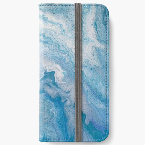 Icy Blue World: Acrylic Pour Painting iPhone Wallet