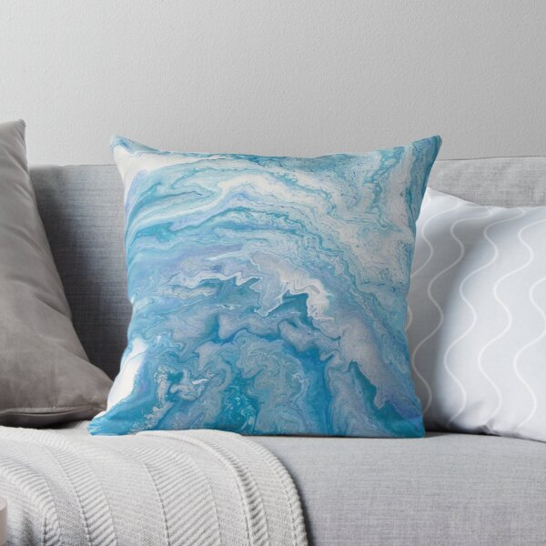 Icy Blue World: Acrylic Pour Painting Throw Pillow