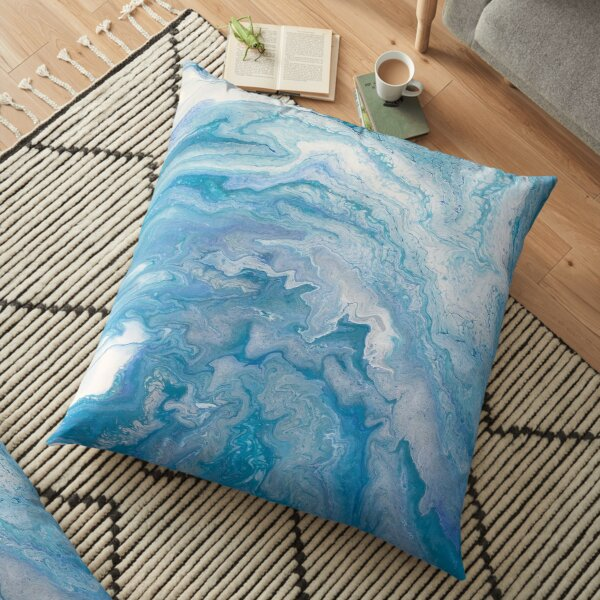 Icy Blue World: Acrylic Pour Painting Floor Pillow