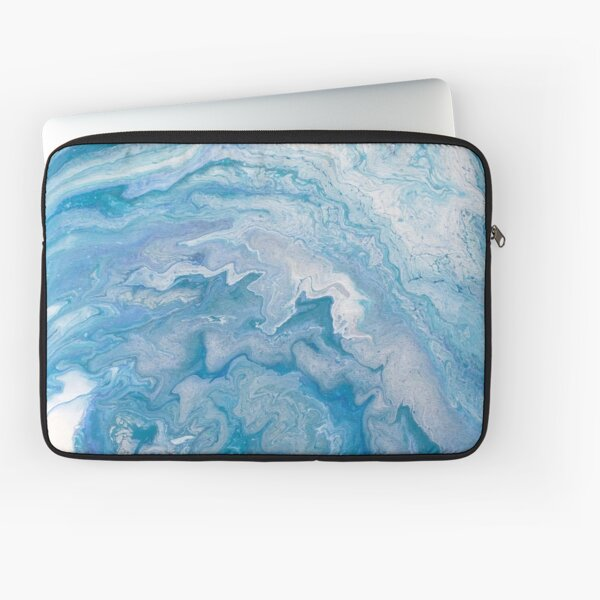 Icy Blue World: Acrylic Pour Painting Laptop Sleeve