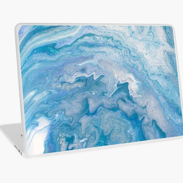 Icy Blue World: Acrylic Pour Painting Laptop Skin