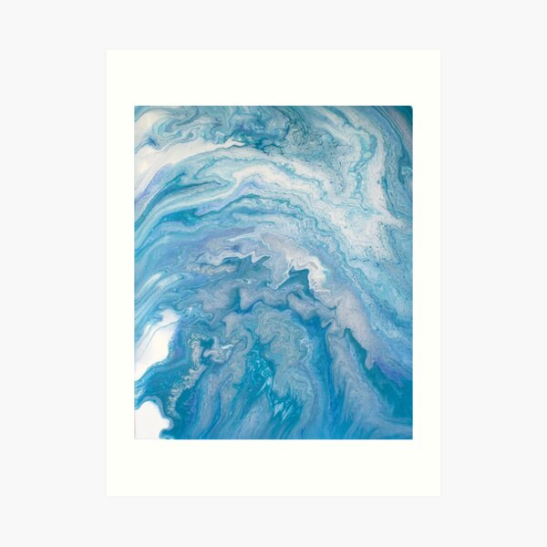 Icy Blue World: Acrylic Pour Painting Art Print