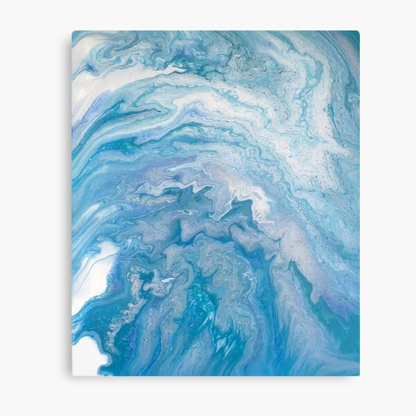 Icy Blue World: Acrylic Pour Painting Metal Print