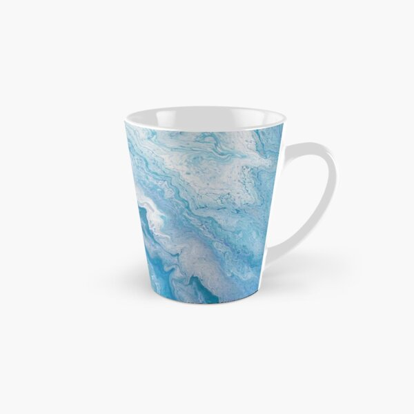 Icy Blue World: Acrylic Pour Painting Tall Mug