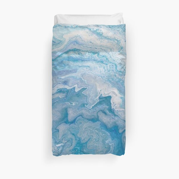 Icy Blue World: Acrylic Pour Painting Duvet Cover