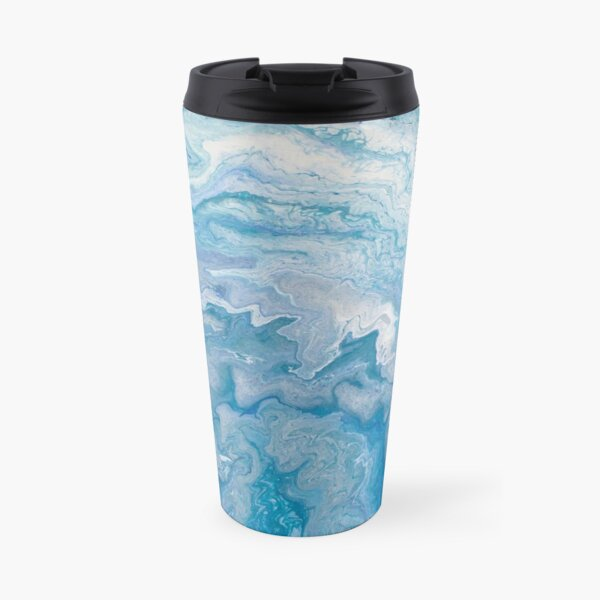 Icy Blue World: Acrylic Pour Painting Travel Mug