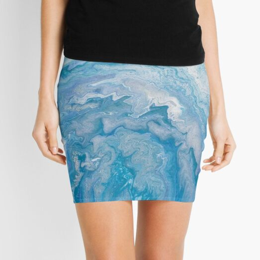 Icy Blue World: Acrylic Pour Painting Mini Skirt