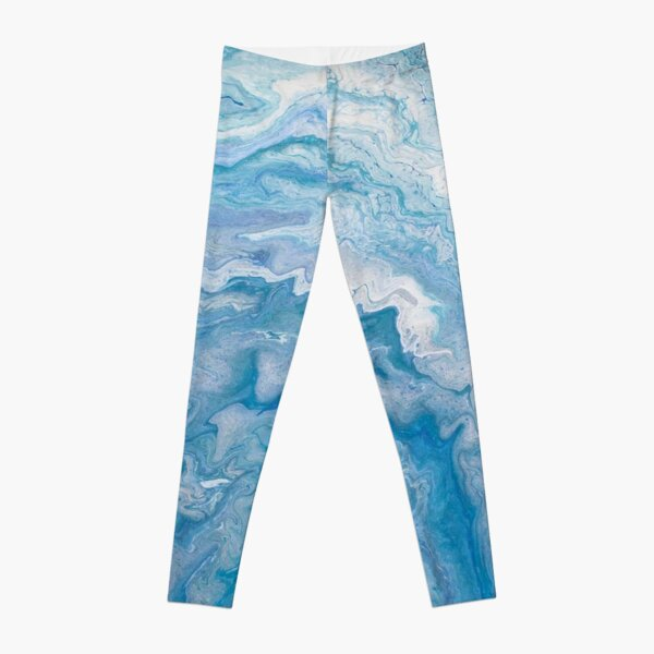 Icy Blue World: Acrylic Pour Painting Leggings