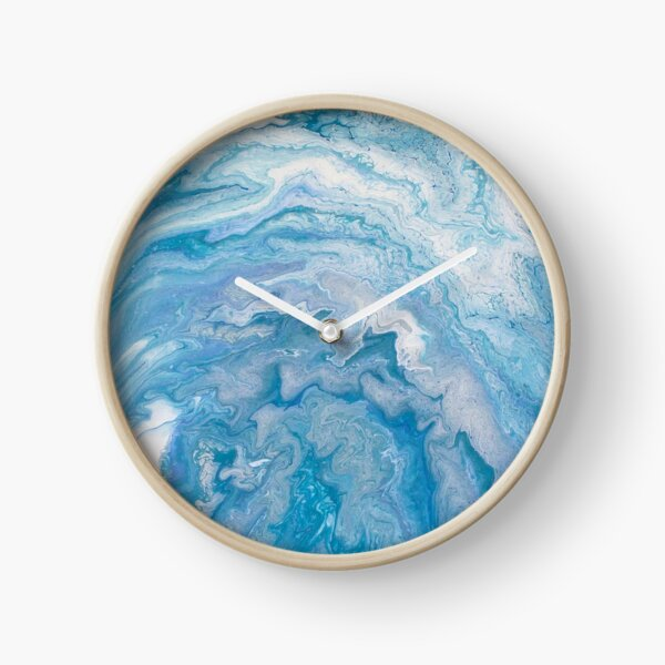 Icy Blue World: Acrylic Pour Painting Clock