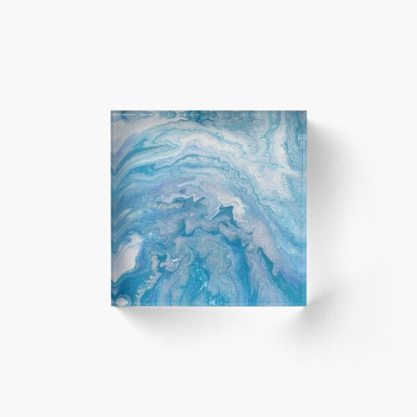 Icy Blue World: Acrylic Pour Painting Acrylic Block