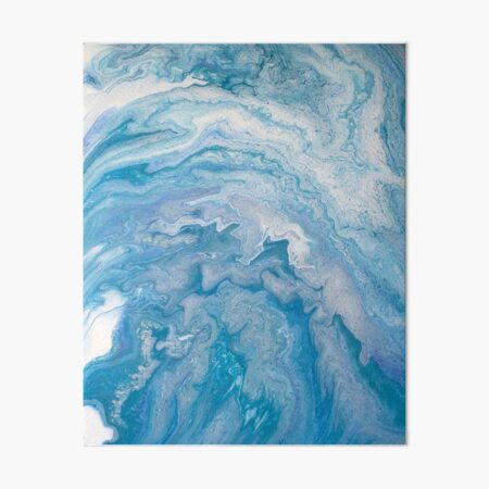 Icy Blue World: Acrylic Pour Painting Art Board Print