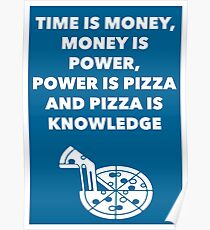 Time, Money, Power, Pizza, Knowledge Poster