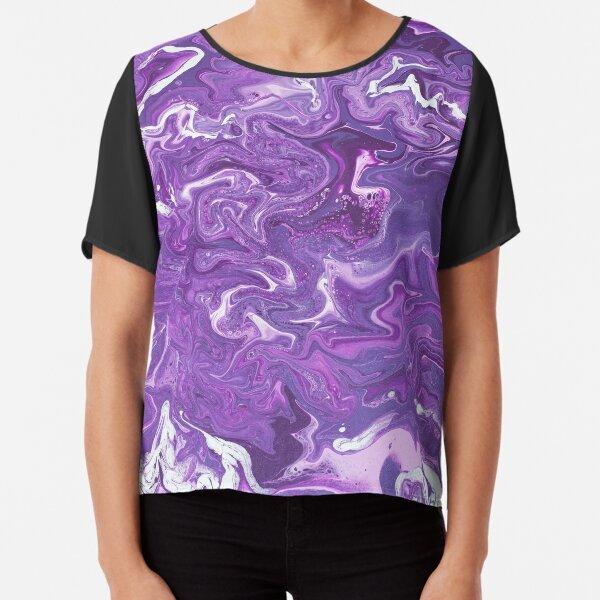Dancing Iris: Acrylic Pour Painting Chiffon Top