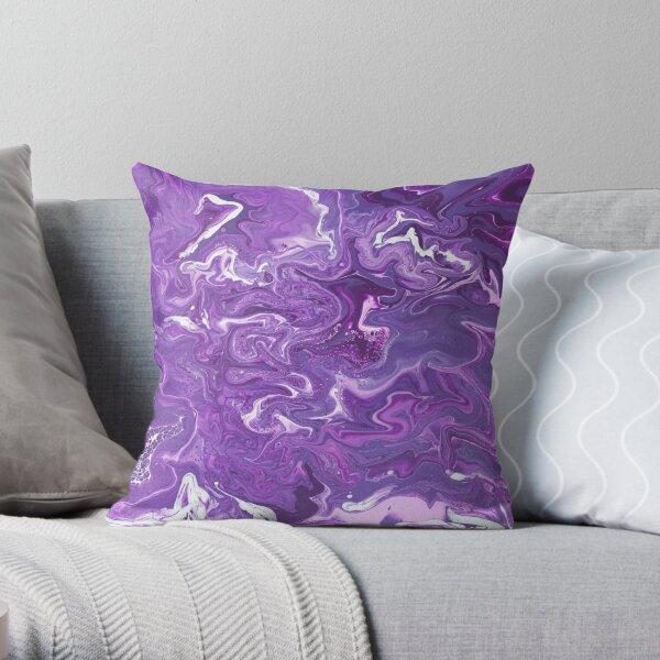 Dancing Iris: Acrylic Pour Painting Throw Pillow