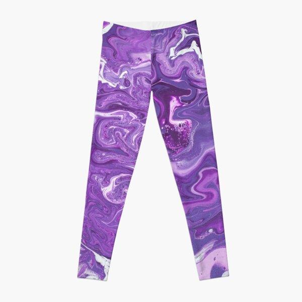 Dancing Iris: Acrylic Pour Painting Leggings