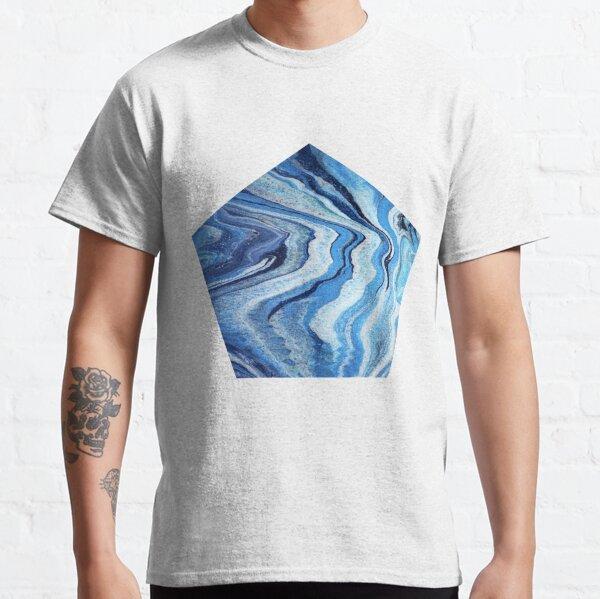 Blue Geode Sparkle: Acrylic Pour Painting Classic T-Shirt