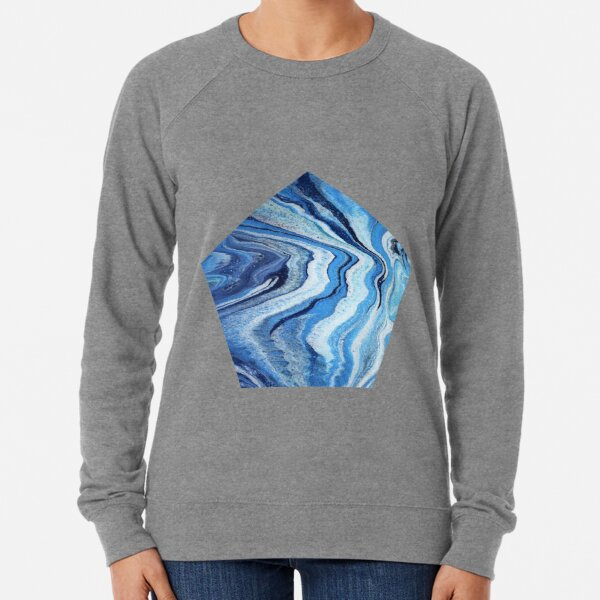 Blue Geode Sparkle: Acrylic Pour Painting Lightweight Sweatshirt