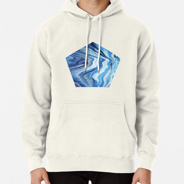 Blue Geode Sparkle: Acrylic Pour Painting Pullover Hoodie
