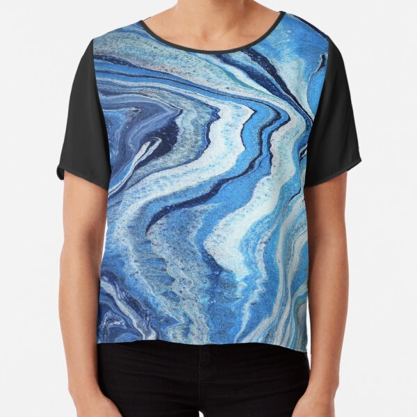 Blue Geode Sparkle: Acrylic Pour Painting Chiffon Top