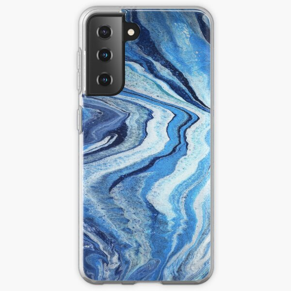 Blue Geode Sparkle: Acrylic Pour Painting Samsung Galaxy Soft Case