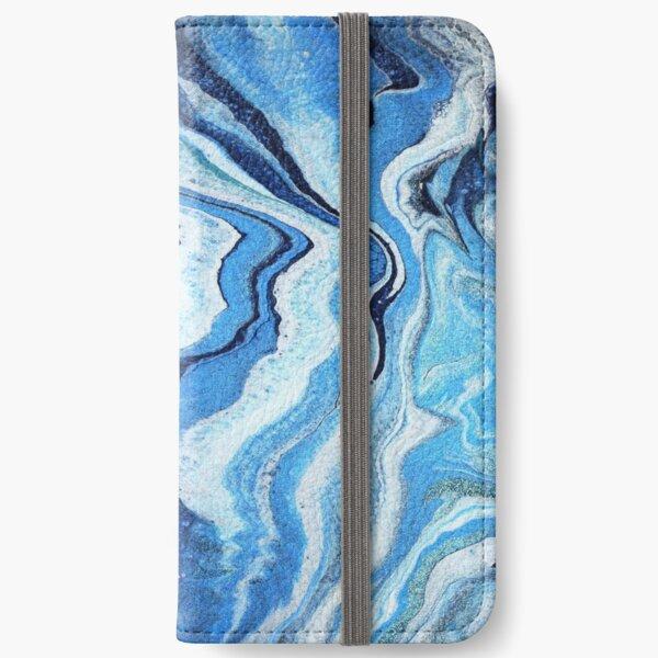 Blue Geode Sparkle: Acrylic Pour Painting iPhone Wallet