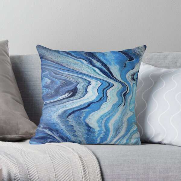 Blue Geode Sparkle: Acrylic Pour Painting Throw Pillow