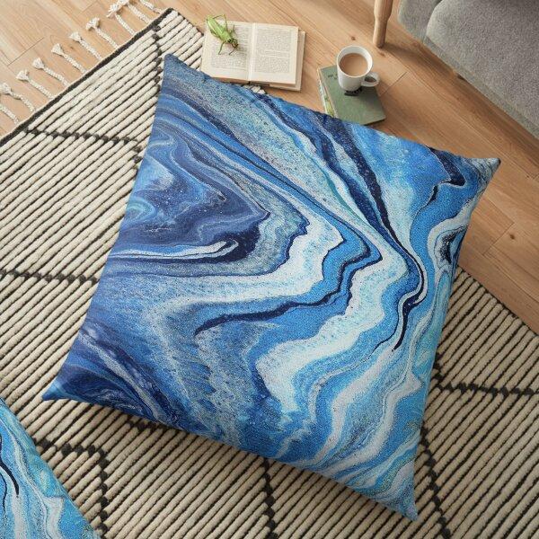 Blue Geode Sparkle: Acrylic Pour Painting Floor Pillow