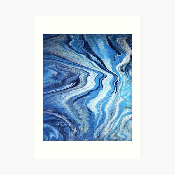 Blue Geode Sparkle: Acrylic Pour Painting Art Print