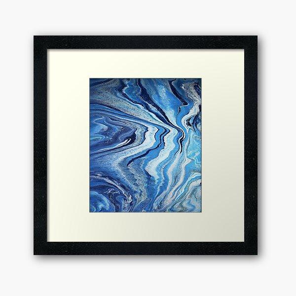 Blue Geode Sparkle: Acrylic Pour Painting Framed Art Print