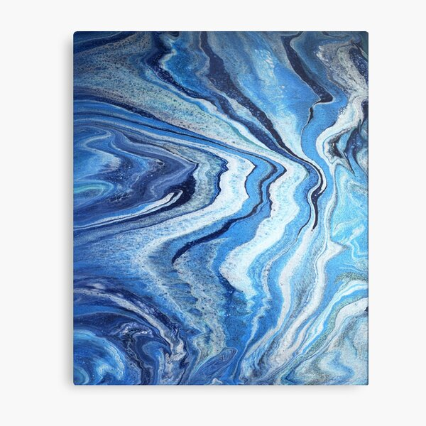 Blue Geode Sparkle: Acrylic Pour Painting Metal Print