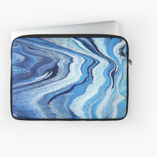 Blue Geode Sparkle: Acrylic Pour Painting Laptop Sleeve