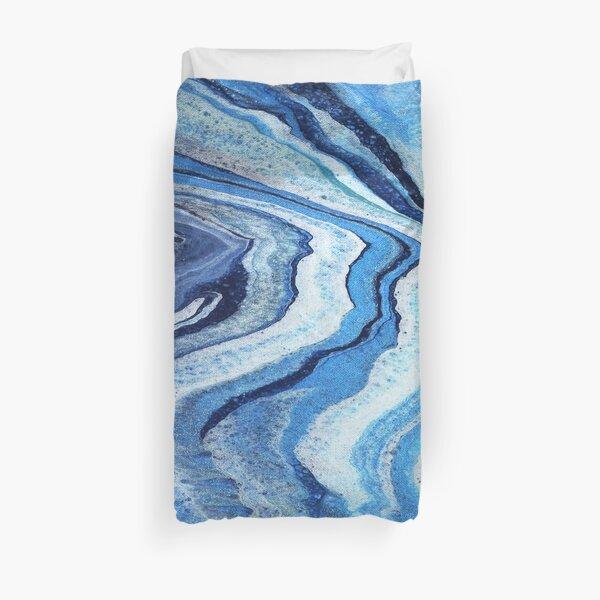 Blue Geode Sparkle: Acrylic Pour Painting Duvet Cover