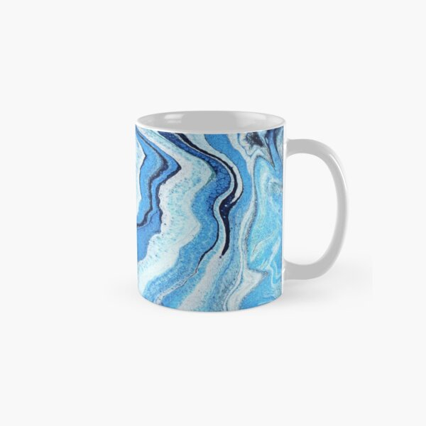 Blue Geode Sparkle: Acrylic Pour Painting Classic Mug