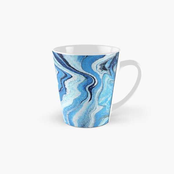 Blue Geode Sparkle: Acrylic Pour Painting Tall Mug