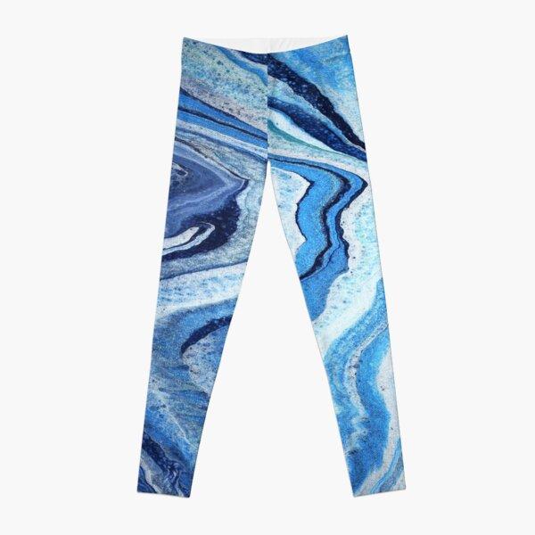 Blue Geode Sparkle: Acrylic Pour Painting Leggings