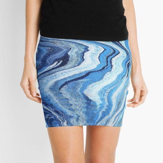 Blue Geode Sparkle: Acrylic Pour Painting Mini Skirt