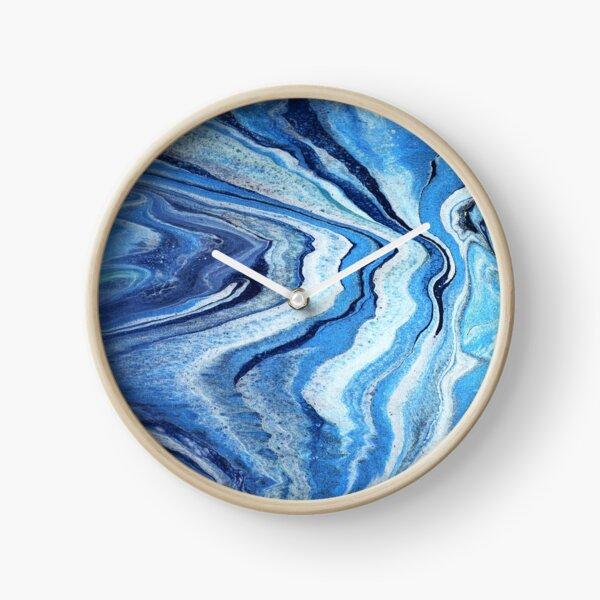Blue Geode Sparkle: Acrylic Pour Painting Clock