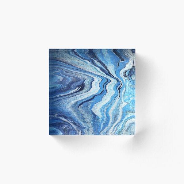 Blue Geode Sparkle: Acrylic Pour Painting Acrylic Block