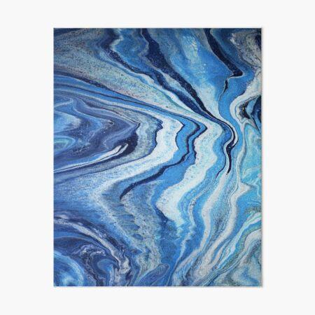 Blue Geode Sparkle: Acrylic Pour Painting Art Board Print