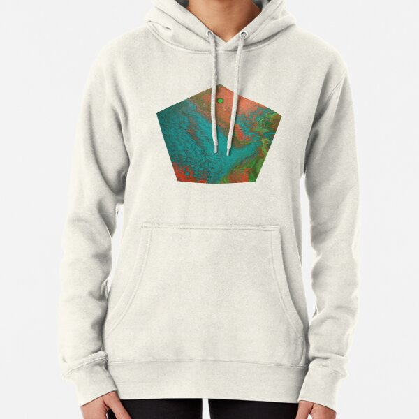 Rusty Jade: Acrylic Pour Painting Pullover Hoodie