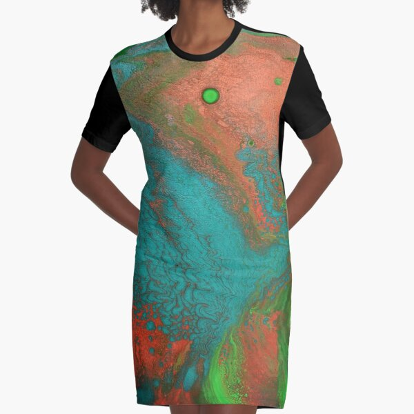 Rusty Jade: Acrylic Pour Painting Graphic T-Shirt Dress