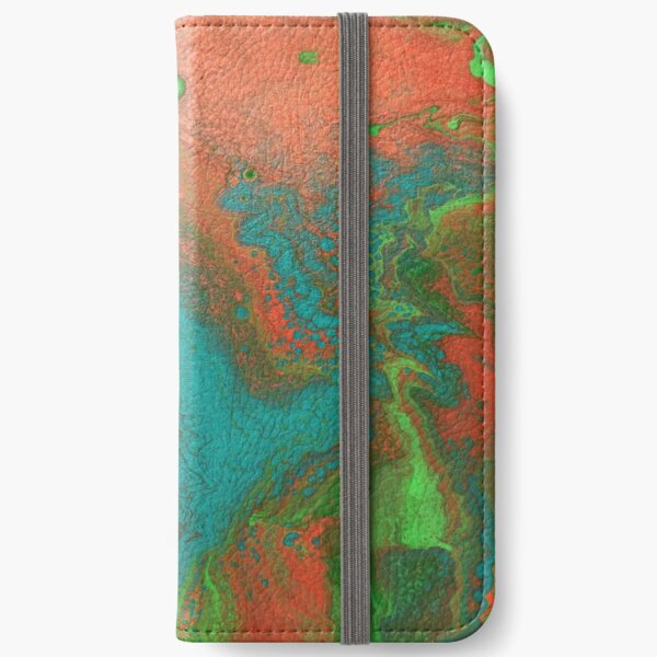 Rusty Jade: Acrylic Pour Painting iPhone Wallet