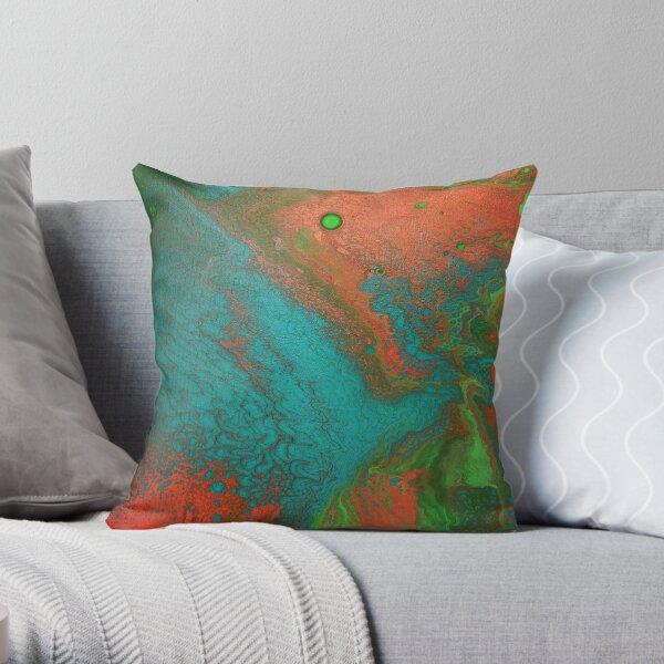Rusty Jade: Acrylic Pour Painting Throw Pillow