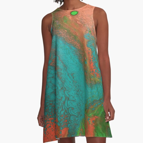 Rusty Jade: Acrylic Pour Painting A-Line Dress