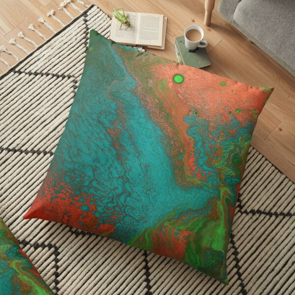 Rusty Jade: Acrylic Pour Painting Floor Pillow