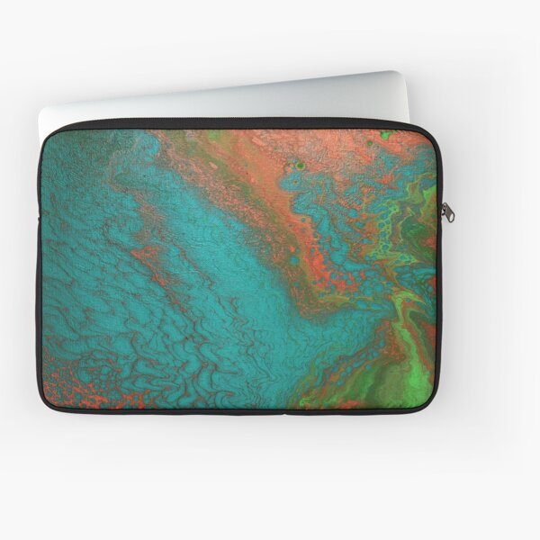 Rusty Jade: Acrylic Pour Painting Laptop Sleeve