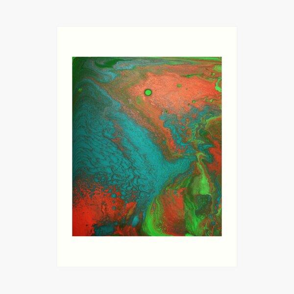 Rusty Jade: Acrylic Pour Painting Art Print